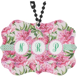 Watercolor Peonies Rear View Mirror Decor (Personalized)