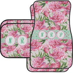 Watercolor Peonies Car Floor Mats Set - 2 Front & 2 Back (Personalized)