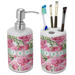 Watercolor Peonies Ceramic Bathroom Accessories Set (Personalized)