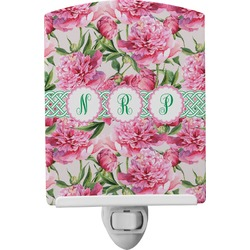 Watercolor Peonies Ceramic Night Light (Personalized)
