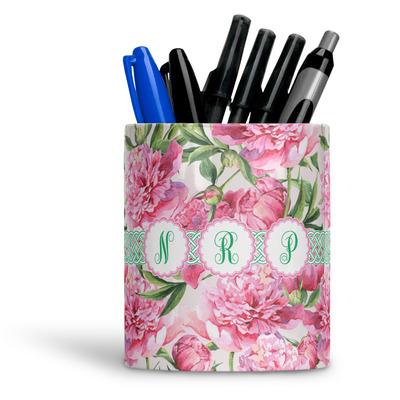 Watercolor Peonies Ceramic Pen Holder