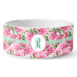 Watercolor Peonies Ceramic Dog Bowl (Personalized)