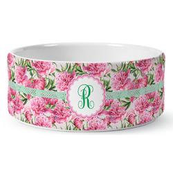 Watercolor Peonies Ceramic Dog Bowl (Personalized)