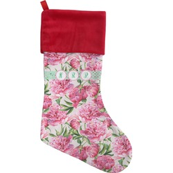 Watercolor Peonies Christmas Stocking (Personalized)