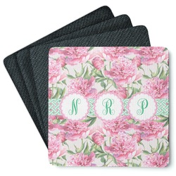 Watercolor Peonies 4 Square Coasters - Rubber Backed (Personalized)