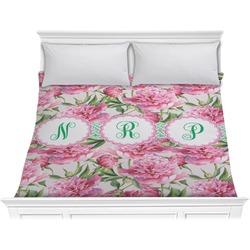 Watercolor Peonies Comforter - King (Personalized)