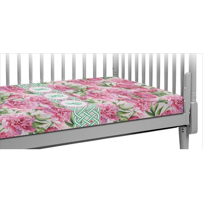 Watercolor Peonies Crib Fitted Sheet (Personalized)