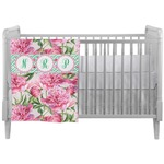 Watercolor Peonies Crib Comforter / Quilt (Personalized)