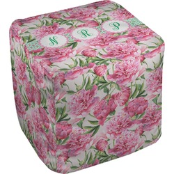 Watercolor Peonies Cube Pouf Ottoman (Personalized)