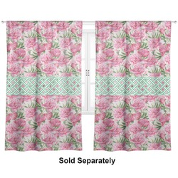 "Watercolor Peonies Curtains - 20""x54"" Panels - Lined (2 Panels Per Set) (Personalized)"