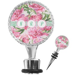 Watercolor Peonies Wine Bottle Stopper (Personalized)