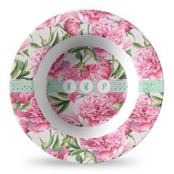 Watercolor Peonies Plastic Bowl - Microwave Safe - Composite Polymer (Personalized)
