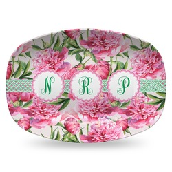 Watercolor Peonies Plastic Platter - Microwave & Oven Safe Composite Polymer (Personalized)