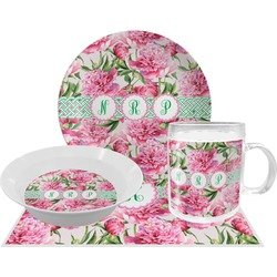 Watercolor Peonies Dinner Set - 4 Pc (Personalized)