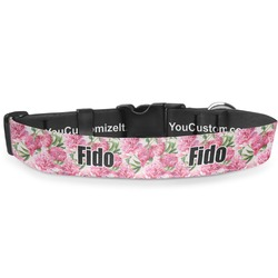 Watercolor Peonies Deluxe Dog Collar (Personalized)