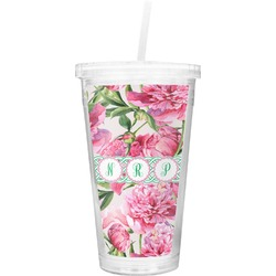 Watercolor Peonies Double Wall Tumbler with Straw (Personalized)