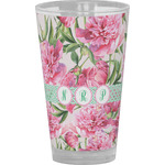 Watercolor Peonies Drinking / Pint Glass (Personalized)