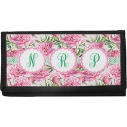 Watercolor Peonies Canvas Checkbook Cover (Personalized)