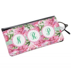 Watercolor Peonies Genuine Leather Eyeglass Case (Personalized)