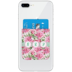 Watercolor Peonies Genuine Leather Adhesive Phone Wallet (Personalized)