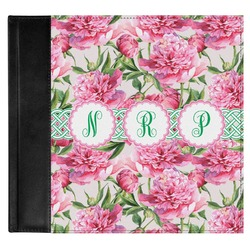 Watercolor Peonies Genuine Leather Baby Memory Book (Personalized)