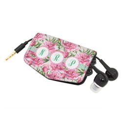 Watercolor Peonies Genuine Leather Cord Wrap (Personalized)
