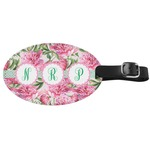 Watercolor Peonies Genuine Leather Oval Luggage Tag (Personalized)