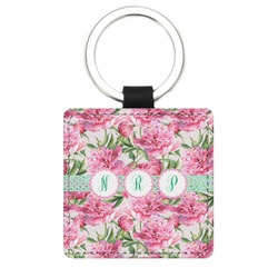 Watercolor Peonies Genuine Leather Rectangular Keychain (Personalized)