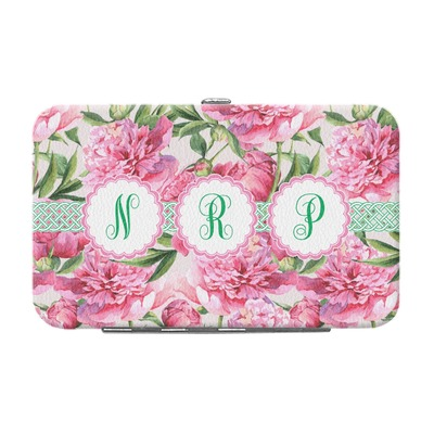 Watercolor Peonies Genuine Leather Small Framed Wallet (Personalized)