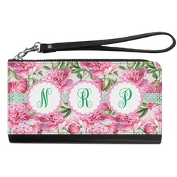Watercolor Peonies Genuine Leather Smartphone Wrist Wallet (Personalized)