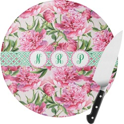 Watercolor Peonies Round Glass Cutting Board (Personalized)