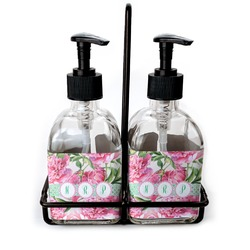 Watercolor Peonies Soap & Lotion Dispenser Set (Glass) (Personalized)