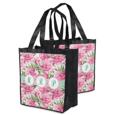 Watercolor Peonies Grocery Bag (Personalized)