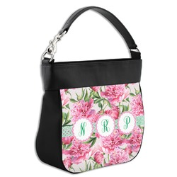 Watercolor Peonies Hobo Purse w/ Genuine Leather Trim (Personalized)