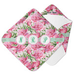 Watercolor Peonies Hooded Baby Towel (Personalized)