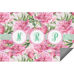 Watercolor Peonies Indoor / Outdoor Rug - 6'x9' (Personalized)