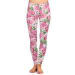 Watercolor Peonies Ladies Leggings (Personalized)