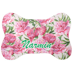 Watercolor Peonies Bone Shaped Dog Food Mat (Personalized)
