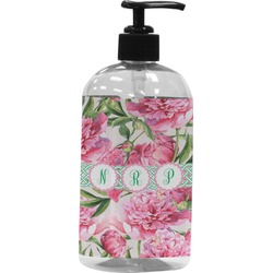 Watercolor Peonies Plastic Soap / Lotion Dispenser (Personalized)