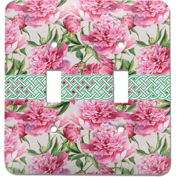 Watercolor Peonies Light Switch Cover (2 Toggle Plate) (Personalized)