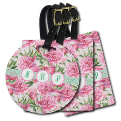 Watercolor Peonies Plastic Luggage Tags (Personalized)