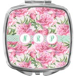 Watercolor Peonies Compact Makeup Mirror (Personalized)