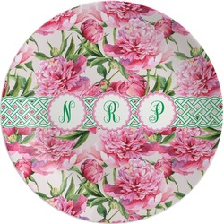 Watercolor Peonies Melamine Plate (Personalized)