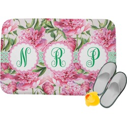 Watercolor Peonies Memory Foam Bath Mat (Personalized)
