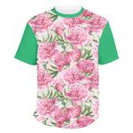 Watercolor Peonies Men's Crew T-Shirt (Personalized)