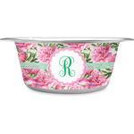 Watercolor Peonies Stainless Steel Dog Bowl (Personalized)