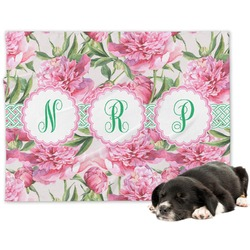 Watercolor Peonies Minky Dog Blanket (Personalized)