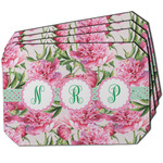 Watercolor Peonies Dining Table Mat - Octagon w/ Multiple Names