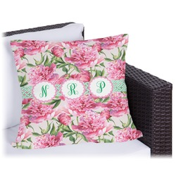Watercolor Peonies Outdoor Pillow (Personalized)
