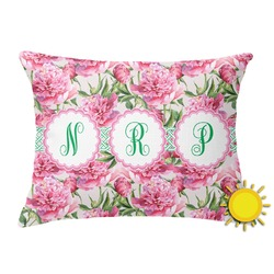 Watercolor Peonies Outdoor Throw Pillow (Rectangular) (Personalized)